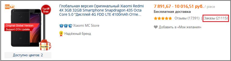 Xiaomi Redmi 4x. Количество продаж