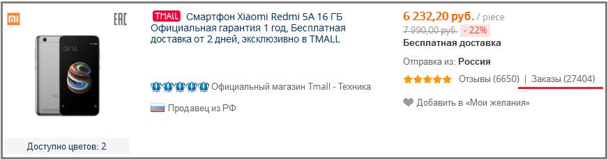 Redmi 5a. Продажи на TMall