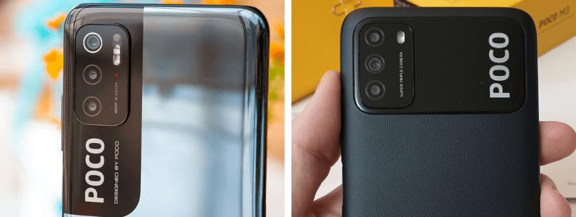 POCO M3 Pro (справа) и POCO M3 (слева). Блоки камер.